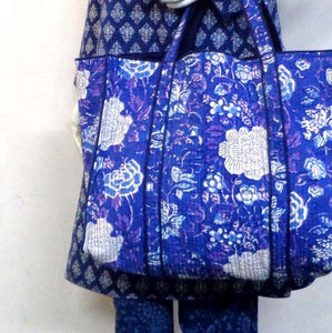 Hand Block Printed Quilted Tote Bag - Beautiful Blue
