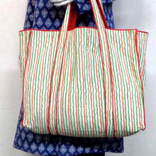 Load image into Gallery viewer, Hand Block Printed Quilted Tote Bag - Tiranga