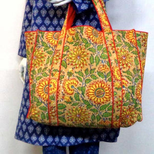 Hand Block Printed Quilted Tote Bag - Sunflower