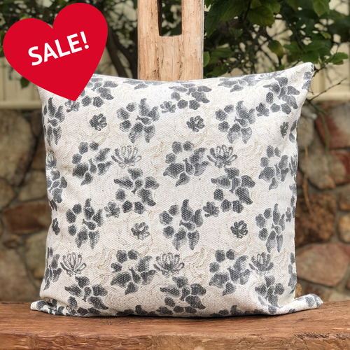 Grey floral, unique, authentic, hand block printed, pure cotton cushion cover made in Jaipur, India