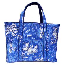 Load image into Gallery viewer, Hand Block Printed Quilted Tote Bag - Anarkali Blue