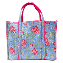 Load image into Gallery viewer, Hand Block Printed Quilted Tote Bag - Cornflower Blue