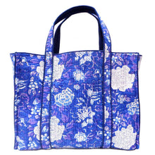 Load image into Gallery viewer, Hand Block Printed Quilted Tote Bag - Beautiful Blue