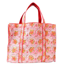 Load image into Gallery viewer, Hand Block Printed Quilted Tote Bag - Frost Pink