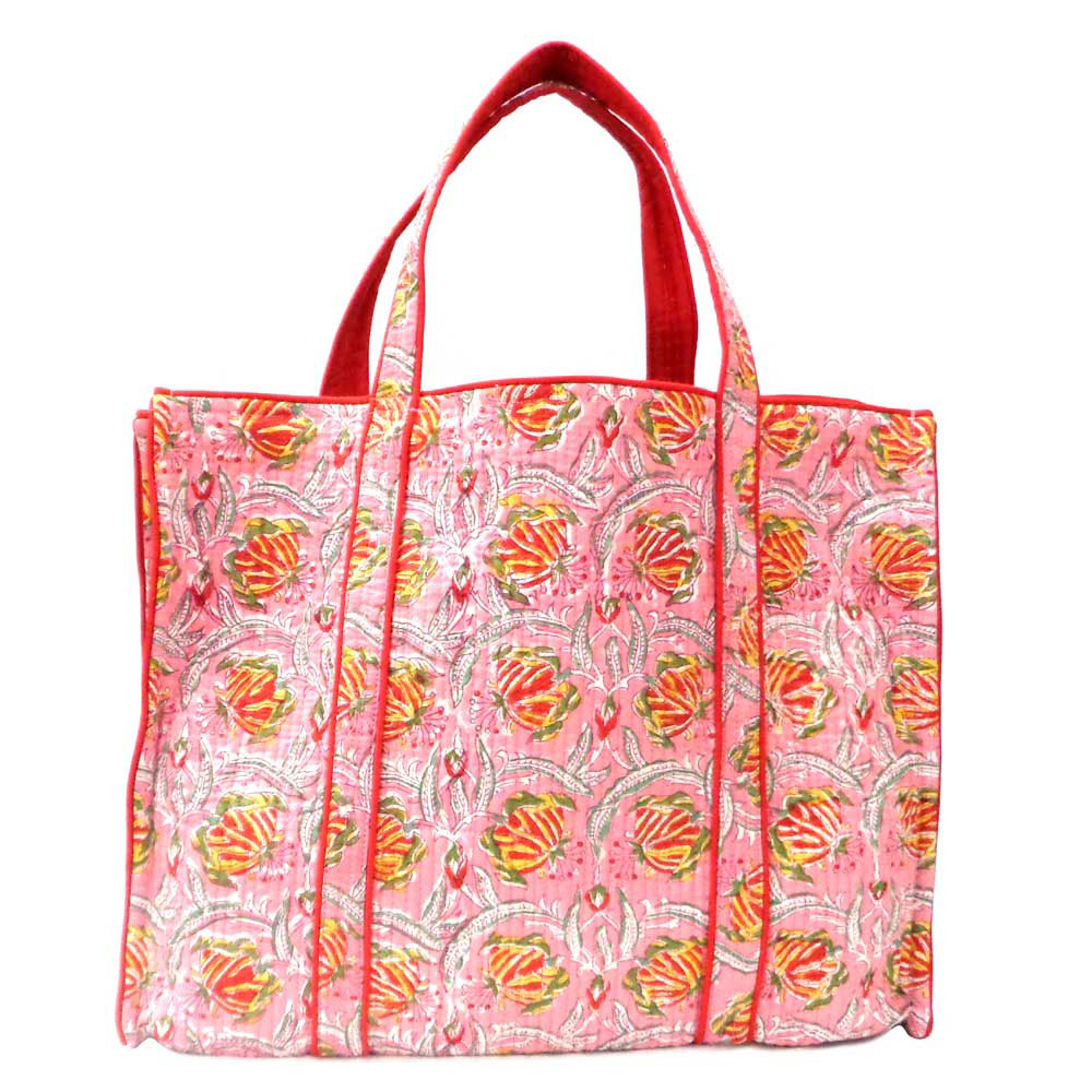 Hand Block Printed Quilted Tote Bag - Frost Pink
