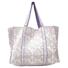 Load image into Gallery viewer, Hand Block Printed Quilted Tote Bag - Leaf Grey