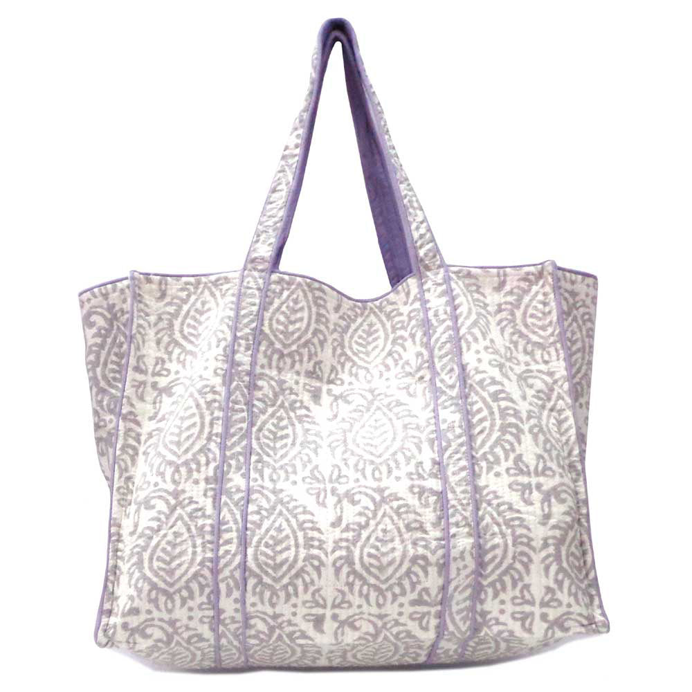 Hand Block Printed Quilted Tote Bag - Leaf Grey