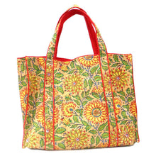Load image into Gallery viewer, Hand Block Printed Quilted Tote Bag - Sunflower