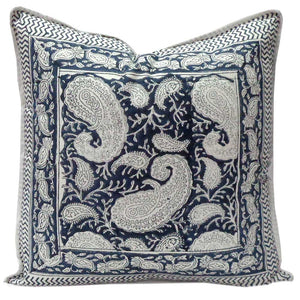 Pure cotton hand block printed 40 x 40cm cushion cover with zip closure in soft and deep grey paisley design
