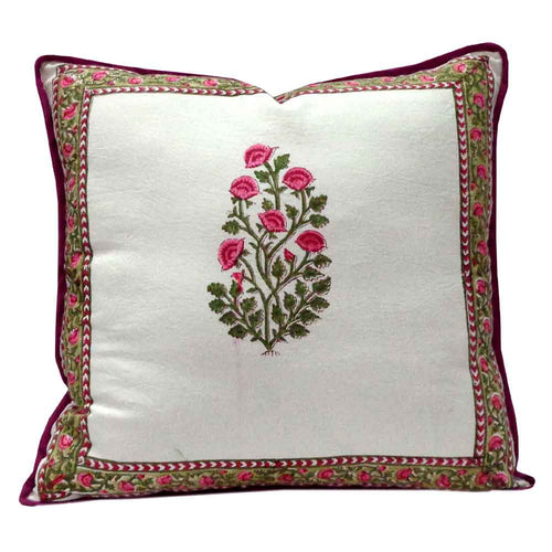 Floral bale pink 40 x 40cm hand block printed cushion cover with zip closure