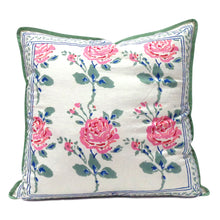 Load image into Gallery viewer, Pretty pure cotton hand block printed 40 x 40cm cushion cover with zip closure in a pink and green rose garden design
