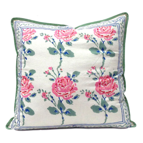 Pretty pure cotton hand block printed 40 x 40cm cushion cover with zip closure in a pink and green rose garden design