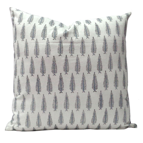 Pretty cotton hand block printed 50 x 50cm cushion cover with zip closure in a delicate white, grey and soft blue tree design