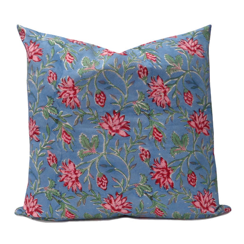 Cornflower blue and pink floral 50 x 50cm cotton, hand block printed cushion cover with zip closure