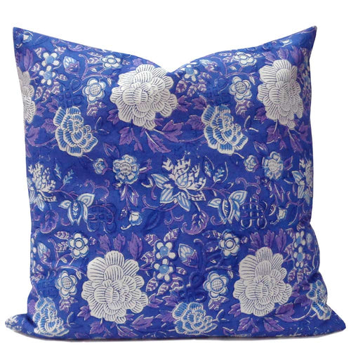 Hand Block Printed Cushion Cover - Beautiful Blue