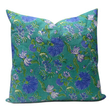 Load image into Gallery viewer, Hand Block Printed Cushion Cover - Flower Blossom Sea Green