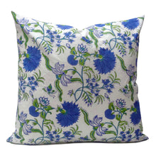Load image into Gallery viewer, Lovely pure cotton hand block printed 50 x 50cm cushion cover with zip closure in a flower blossom green and blue floral design