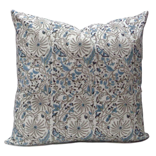 Pure cotton hand block printed 50 x 50cm cushion cover with zip closure in a delicate blue and grey floral and butterfly design