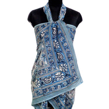 Load image into Gallery viewer, Summer sarong in pure soft cotton hand block printed soft blue and grey floral design for the beach