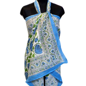 Summer sarong in pure soft cotton hand block printed soft blue and grey floral design for the beach