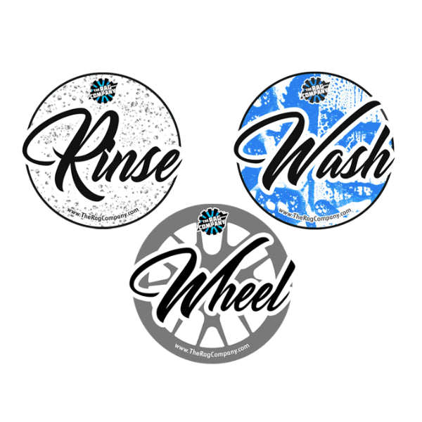 THE RAG COMPANY 3 PACK RINSE, WASH & WHEEL BUCKET STICKERS - Daily Detailer