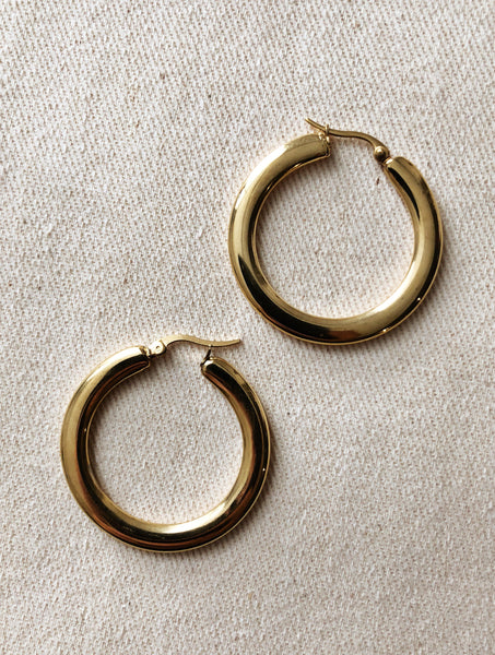 FLAT HOOP GOLD EVERYDAY STYLE EARRINGS VEIA