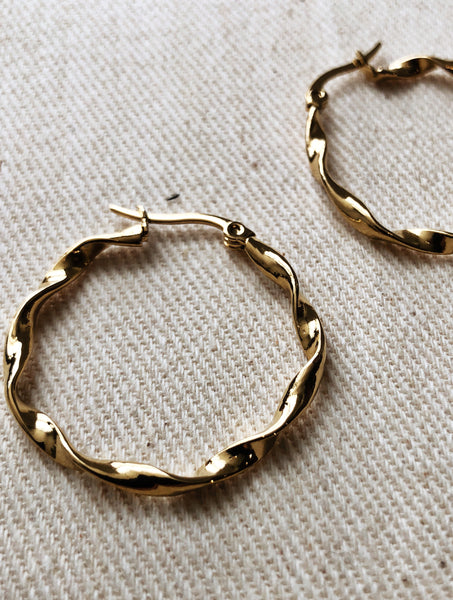 RIBBON HOOP EARRINGS EVERYDAY STYLE GOLD VEIA