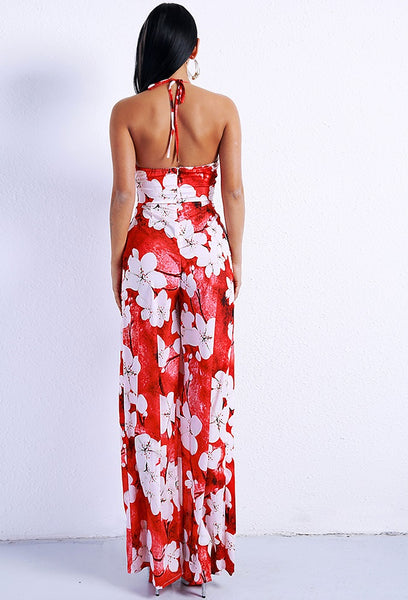 Floral High Split Dress