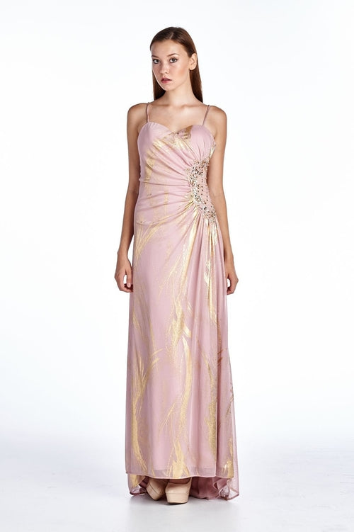 Women's Mesh with Gold Foil Evening Gown