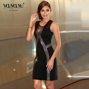 Women Sleeveless Party Striped Decoration  Knee-Length Dress
