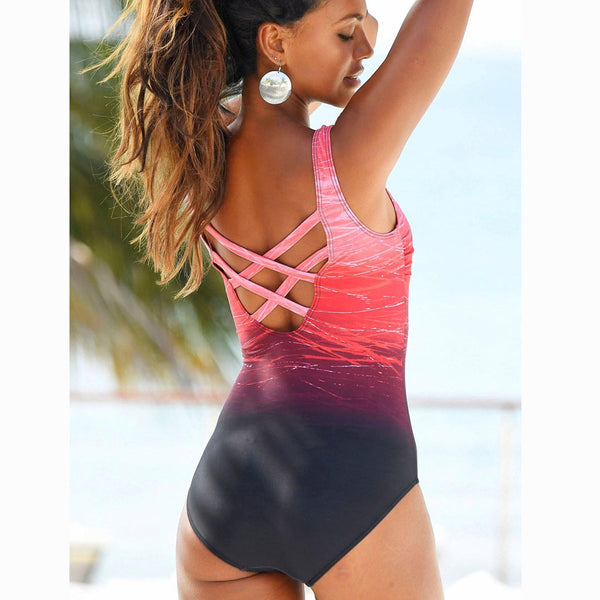 Sexy One Piece High Neck Bandage Criss Cross Back Swimsuit M-XXL