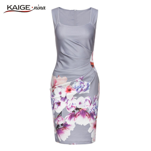 KaigeNina Chinese Style Printing Square Collar Knee-Length Dress