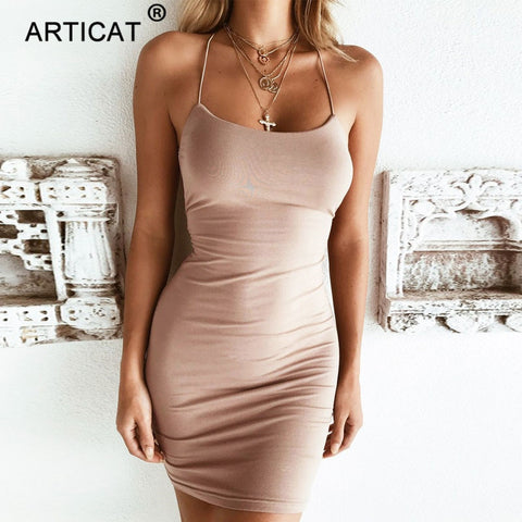 Cross Bandage Backless Sexy Bodycon Short Party Mini Dress