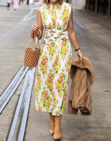 Gold Coast Bohemia resort wind floral print maxi dress
