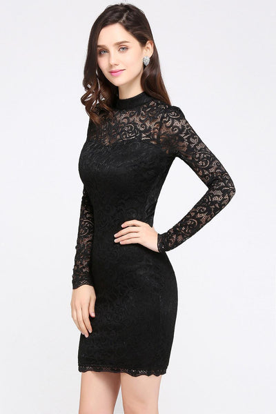 Black Short Cocktail Lace Long Sleeve Dress