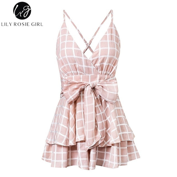 Women V-Neck Plaid Boho Floral Playsuit