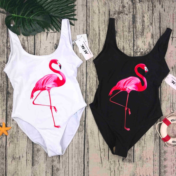 Women One Piece Swimsuit birds Printed Summer Bathing Suit