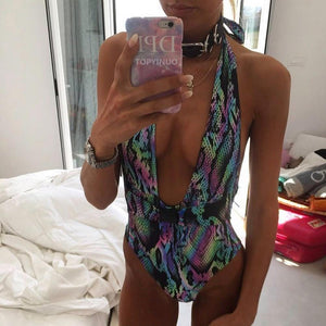 Sexy Printed Bandage Bikini Bandeau High Waist Bathing Suit
