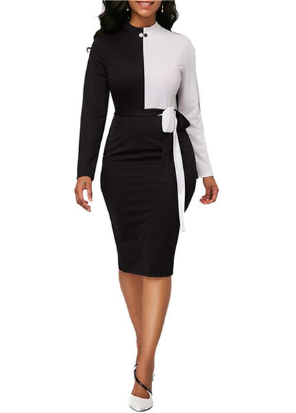 Color Patchwork Long Sleeve Office Midi dress