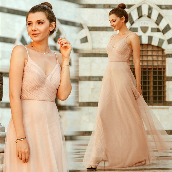 Blush Pink Bridesmaid Sweetheart A-line V-neck Sleeveless Dress