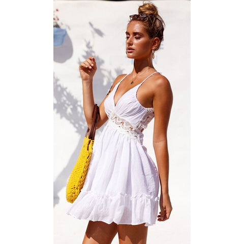Ladies  V-Neck Bikini Cover-Up Lace Hollow Crochet Swimsuit Beach Dress