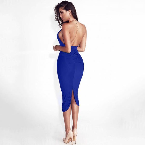 Hollow Out Party Bodycon Bandage Off Shoulder Choker Long Pencil Dress