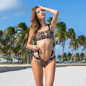 Sexy 2PC Leopard Bandage Bikini Bandeau High Waist Bathing Suit