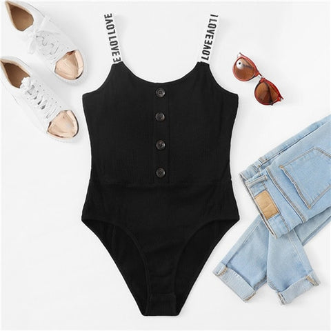Black Button Front Ribbed Skinny Cami Sleeveless Letter Print Straps Bodysuit