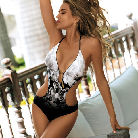 Print One Piece Swimsuit Women Swimwear Deep V Monokini Bodysuit Swimsuit
