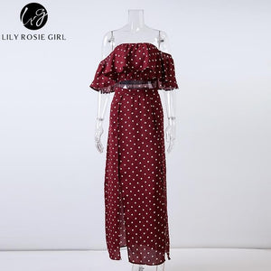 Women Off Shoulder Red Vintage Dot Long Dress Summer Maxi Dress
