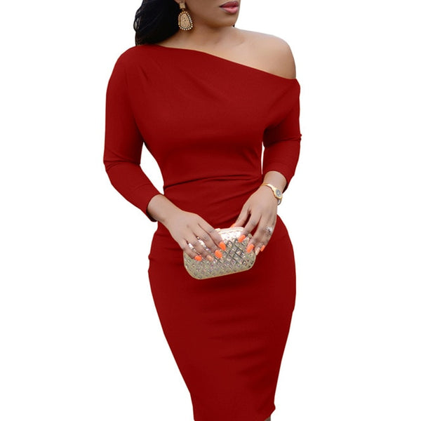 Women Sexy Long Sleeve Knee Length Pencil One-Shoulder Party Dress
