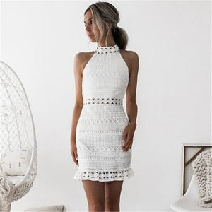 Vintage hollow out lace summer chic mini dress