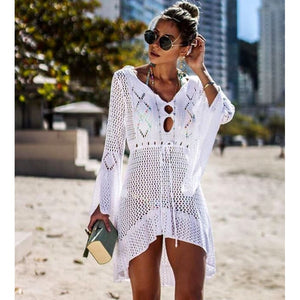 Crochet Solid Color Knitted Beach Cover-up