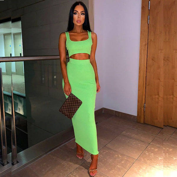 2 Piece Women Ribbed Crop Top And Skirt Matching Sets